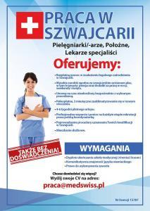 Praca w Szwajcarii - pielęgniarki/-arze, położne, lekarze specjaliści